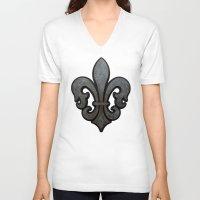 fleur de lis V-neck T-shirts featuring Fleur de Lis by Fischer Fine Arts
