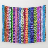 peru Wall Tapestries featuring Peru Stripe II by Schatzi Brown