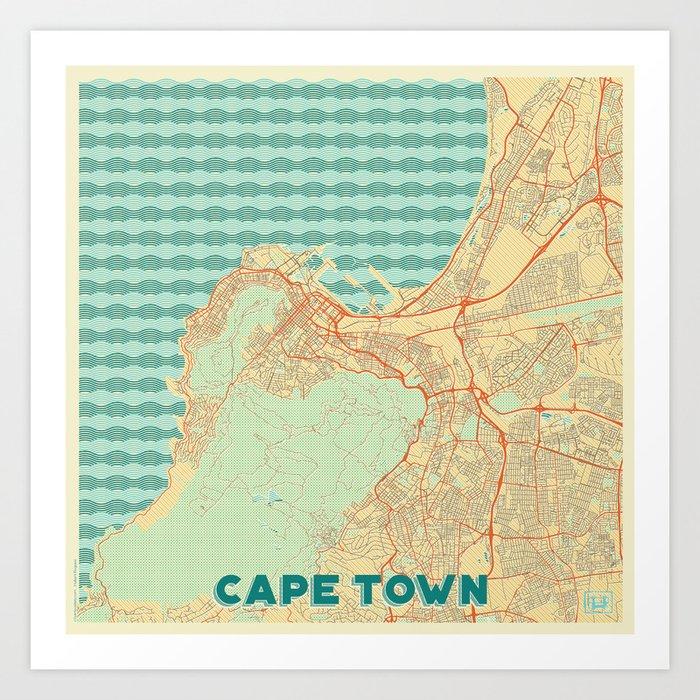 Cape Town Map Retro Art Print