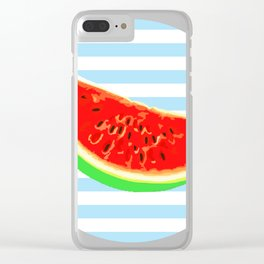 Watermelon, Summer Poster, Summer colors, blue, rounded Clear iPhone Case