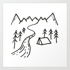 Camp by the River Art Print
