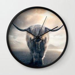 highland cattle scotland Wall Clock