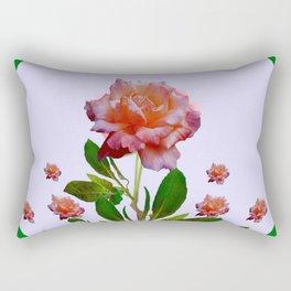 GREEN COLOR   CORAL  PINK ROSES BOTANICAL ART Rectangular Pillow