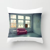 sofa Throw Pillows featuring The Pink Sofa' by Anna Andretta