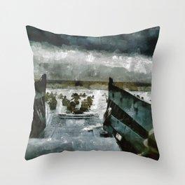 D Day Landings, WWII Throw Pillow