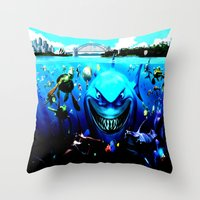 finding nemo Throw Pillows featuring nemo by Marwan Baghdadi