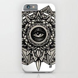Sacred Geometry Seraphim Star Mandala White iPhone Case