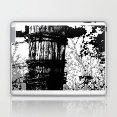 Barbed Wire Fence Post B/W Laptop & iPad Skin
