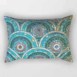 Aqua Teal Blue and Green Sparkling Faux Glitter Circles and Dots Rectangular Pillow