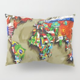 world map with flags vintage 2 Pillow Sham