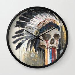 Skull in a Warbonnet Wall Clock