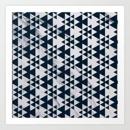 Southwestern Triangle Design over White Grey Marble Art Print