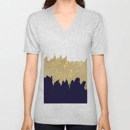 Modern navy blue white faux gold glitter brushstrokes Unisex V-Neck