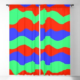 Retro abstract red, green and blue wavy decorative pattern graphic design. Gift ideas. Home decor. Blackout Curtain