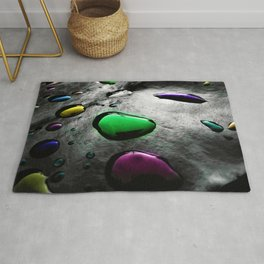 Abstract Art - Colored Drops of Rain on black background Rug
