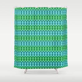 Moroccan Ikat Damask, Turquoise & Jade Green Shower Curtain