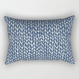 Hand Knit Navy Rectangular Pillow