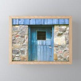 Stone Wall Blue Door Framed Mini Art Print