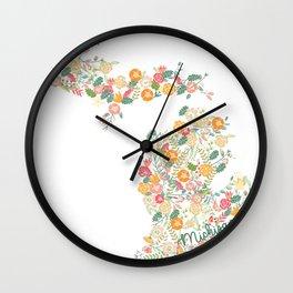 Beauty in Michigan (white) Wall Clock