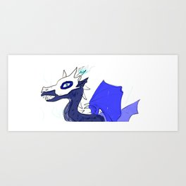 Blue skull dragon Art Print