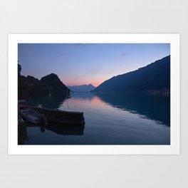Brienz Lake At Sunset. Alps. Switzerland Art Print