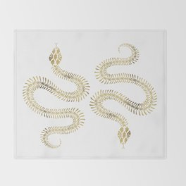Snake Skeleton – Gold Throw Blanket