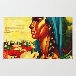 Vintage Mexico Travel - Woman with Flowers Rug