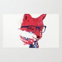american Area & Throw Rugs featuring American Fox by Robert Farkas