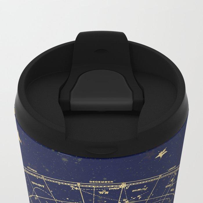 Metallic Gold Vintage Star Map 2 Metal Travel Mug