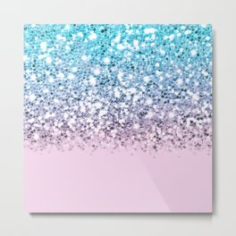 Sparkly Unicorn Blue Lilac & Pink Ombre Metal Print