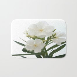 White Oleander Flowers Close Up Isolated On White Background  Bath Mat