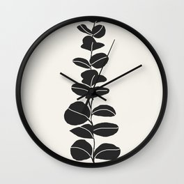 Minimal Eucalyptus Line Art Wall Clock