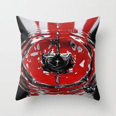 Black & Red Water Art. Throw Pillow
