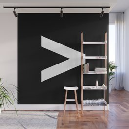 Greater-Than Sign (White & Black) Wall Mural
