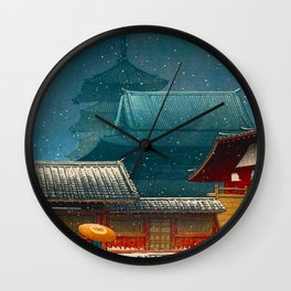 Vintage Japanese Woodblock Print Japanese Red Shinto Shrine Pagoda Winter Snow Wall Clock
