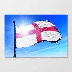 England flag waving on the wind Canvas Print
