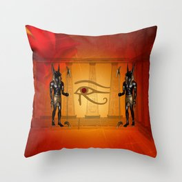 The all seeing eye with anubis Throw Pillow
