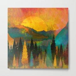 Trees, Mountains, Sun, Sunrise, Warm, Red, Yellow. Vintage. Retro. Illustration.  Metal Print