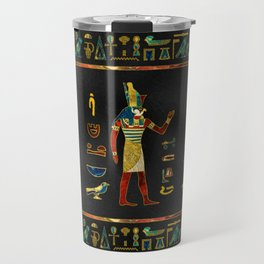 Egyptian  Gold, Teal and Red  glass pattern Travel Mug