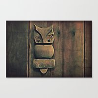 wooden Canvas Prints featuring Wooden Owl by Dorothy Pinder