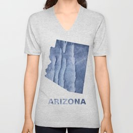 Arizona map outline Blue watercolor Unisex V-Neck