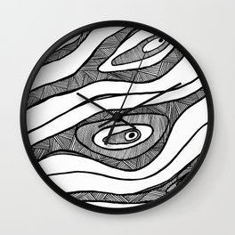 Black Waves Linework Wall Clock