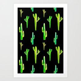 Cactus Pattern (Black Background) Art Print