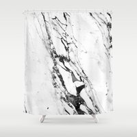 white marble Shower Curtains featuring Marble by Judith Abbott
