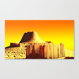 Golden mountain monument landscape nature illustration Canvas Print