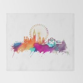 Colored London skyline Throw Blanket