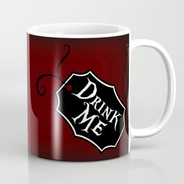 """""""Drink Me"""" Alice in Wonderland styled Bottle Tag Design in 'Tulgey Wood Brown' Coffee Mug"""