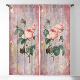 Vintage & Shabby Chic - Rose on pink grunge background  - Roses and flowers garden Blackout Curtain