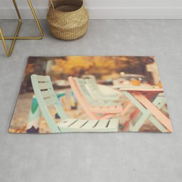 Dream Autumn (Pink and blue coffee shop chairs on retro and vintage fall) Rug