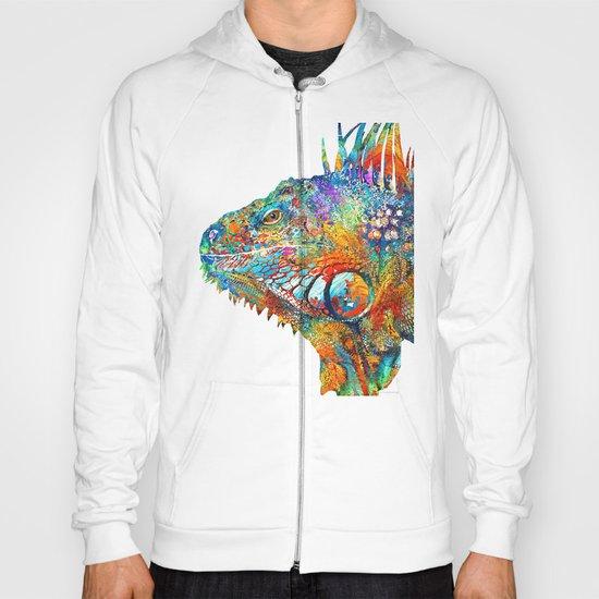Colorful Iguana Art - One Cool Dude - Sharon Cummings Hoody